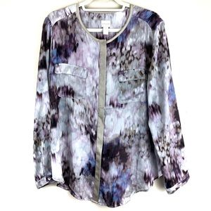 Chico's Purple and Blue Button Up Blouse